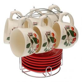 Set 6 čajových šálok s tanierikmi so stojančekom Versa Cherry