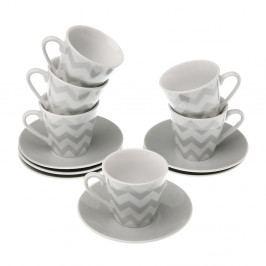 Sada 6 hrnčekov s tanierikmi VERSA Tea Chev, 8 cl
