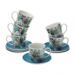 Sada 6 porcelánových hrnčekov na čaj s tanierikmi VERSA Floral