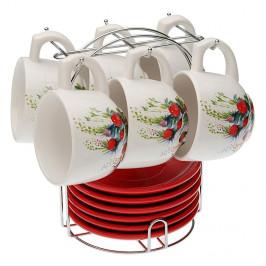 Set 6 čajových šálok s tanierikmi so stojančekom Versa Flower