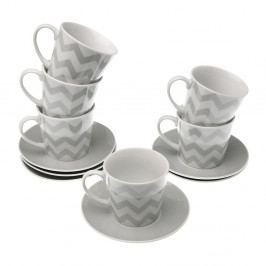 Sada 6 hrnčekov s tanierikmi VERSA Tea Chev, 2,2dl