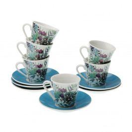 Sada 6 porcelánových hrnčekov s tanierikmi VERSA Floral
