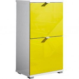 Biela skrinka na topánky so žltými zásuvkami Germania Colorado, výška 91 cm