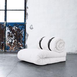Variabilné kreslo s bielo prešívanými koženými popruhmi Karup Buckle Up Natural