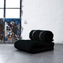 Variabilné kreslo s bielo prešívanými koženými popruhmi Karup Buckle Up Black