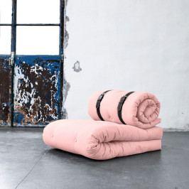 Variabilné kreslo s bielo prešívanými koženými popruhmi Karup Buckle Up Pink Peonie