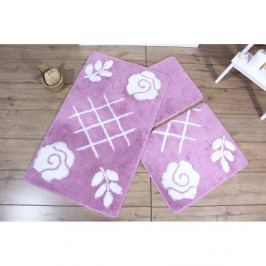 Sada 3 fialových kúpeľňových predložiek Flora