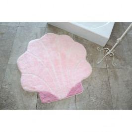 Ružová kúpeľňová predložka v tvare mušle, 90 x 90 cm