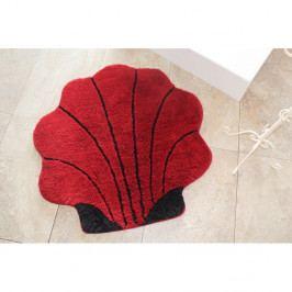Červená kúpeľňová predložka v tvare mušle, 90 x 90 cm