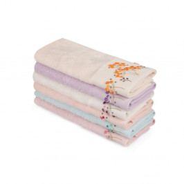Sada 6 farebných uterákov z čistej bavlny Drew, 30 x 50 cm