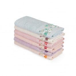 Sada 6 farebných uterákov z čistej bavlny Sia, 30 x 50 cm