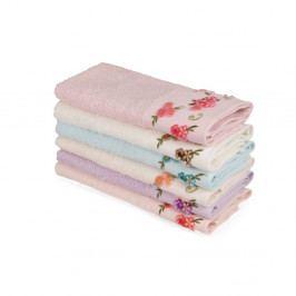 Sada 6 farebných uterákov z čistej bavlny Floralisa, 30 x 50 cm