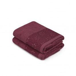Sada 2 tmavočervených uterákov z čistej bavlny Grande, 50 x 90 cm