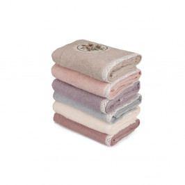 Sada 6 ružových uterákov na ruky Vintage Violet