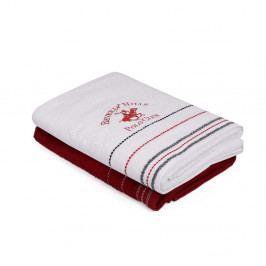 Sada červeného a bieleho uteráka na ruky Polo Club