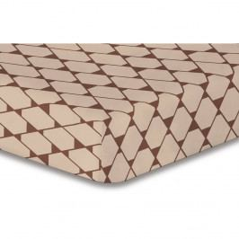 Béžová elastická plachta so vzorom DecoKing Rhombuses, 140×200 cm