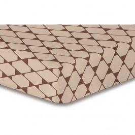 Béžová elastická plachta so vzorom DecoKing Rhombuses, 180×200 cm