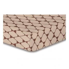 Béžová elastická plachta so vzorom DecoKing Rhombuses, 220×240 cm