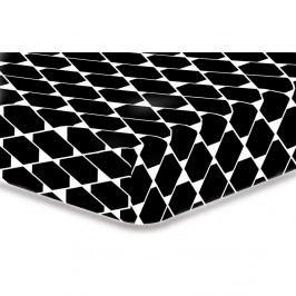 Čierna elastická plachta z mikrovlákna DecoKing Rhombuses, 200×220 cm