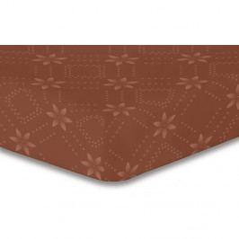 Hnedá elastická plachta so vzorom DecoKing Hypnosis Snowynight, 120×200 cm