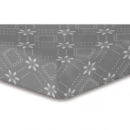 Sivá elastická plachta so vzorom DecoKing Hypnosis Snowynight, 140×200 cm