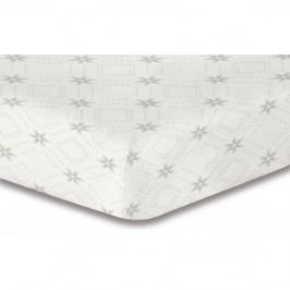 Biela elastická plachta so vzorom DecoKing Hypnosis Snowynight, 90×200 cm