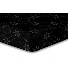 Čierna elastická plachta so vzorom DecoKing Hypnosis Snowynight, 200×220 cm