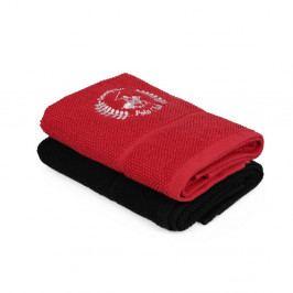 Sada červeného a čierneho uteráka Beverly Hills Polo Club, 100 × 50 cm