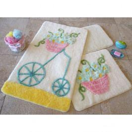 Sada troch kúpeľňových predložiek s motívom kvetinového vozíka v modrej, ružovej a žltej farbe Knit Knot