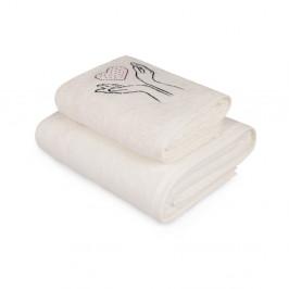 Set bieleho uteráka a bielej osušky s farebným detailom Madame Coco Amour