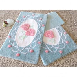 Sada troch modrých kúpeľňových predložiek s motívom ruží Knit Knot