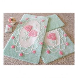 Sada troch zelených kúpeľňových predložiek s motívom ruží Knit Knot