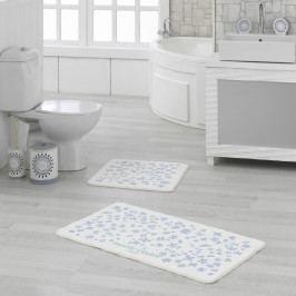Sada 2 bielo-modrých kúpeľňových predložiek Delight