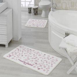 Sada 2 bielo-ružových kúpeľňových predložiek Delight