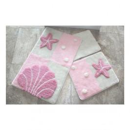 Sada troch kúpeľňových predložiek s morským motívom v svetloružovej farbe Knit Knot