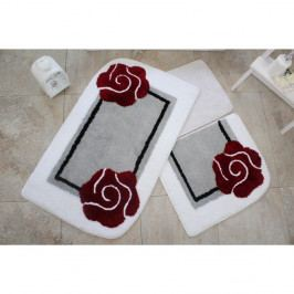 Sada troch kúpeľňových predložiek s motívom kvetu v sivo-červenej farbe Knit Knot