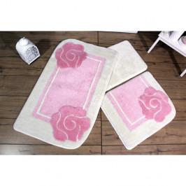 Sada troch kúpeľňových predložiek s motívom kvetu v ružovo-bielej farbe Knit Knot