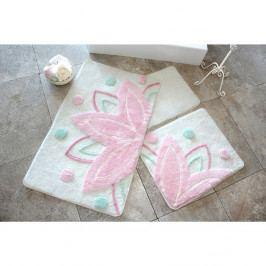 Sada troch kúpeľňových predložiek s motívom lotosového kvetu v bielo-ružovej farbe Knit Knot