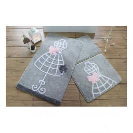 Sada troch sivých kúpeľňových predložiek s motívom šiat Knit Knot