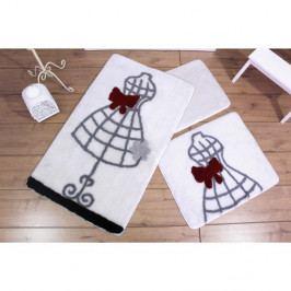 Sada troch bielych kúpeľňových predložiek s motívom šiat Knit Knot