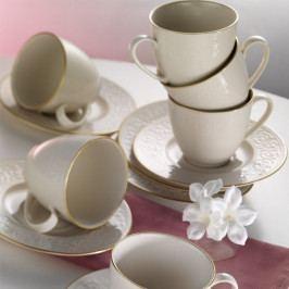 Sada 6 porcelánových hrnčekov s tanierikom Simple Gold