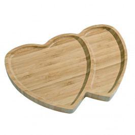 Bambusový servírovací podnos Kosova Hearts Dos, 26×18cm