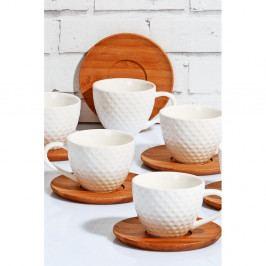Sada 6 bielych porcelánovýh šálok s bambusovým tanierikom Kutahya, 80 ml