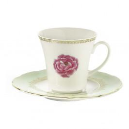 Sada 6 porcelánových šálok s tanierikom Kutahya Roses, 80 ml