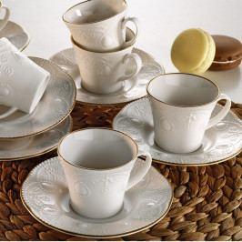 Sada 6 porcelánových šálok na čaj s tanierikom Stitched