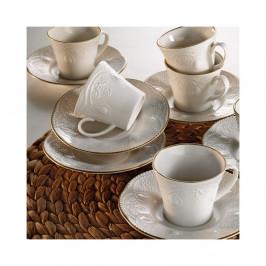 Sada 6 porcelánových šálok na kávu s tanierikom Stitched