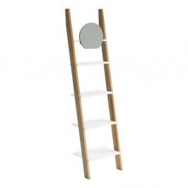 Biela drevená oporná polica so zrkadlom Ragaba Ashme Ladder