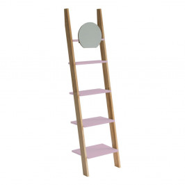 Svetloružová drevená oporná polica so zrkadlom Ragaba Ashme Ladder