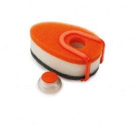 Sada 3 oranžových špongií s dávkovačom saponátu Joseph Joseph Soapy Sponge