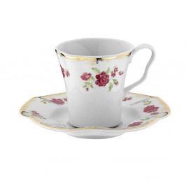Sada 6 porcelánových hrnčekov s tanierikom Shine Roso, 50 ml